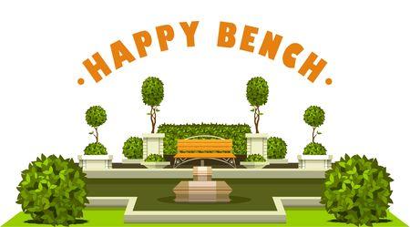 Vector illustration of a scene of a public recreation park garden plants of a bench