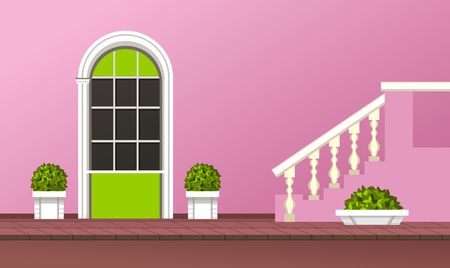 pillar box: Vector illustration of the facade of the building front door of the gardening Illustration