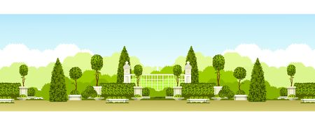 grille: Vector illustration seamless pattern panoramic view of public praka with a hedge of topiary trees and a place for relaxation