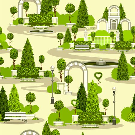 Vector clipart seamless wallpaper pattern park garden building arches green plantations Illustration