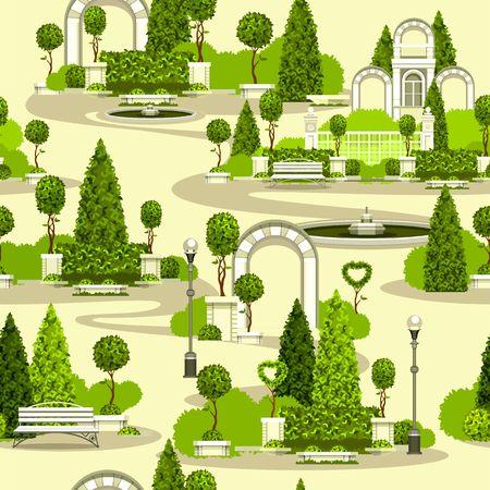 Vector clipart senza soluzione di continuità carta da parati modello parco giardino costruzione archi piantagioni verdi Archivio Fotografico - 82683378