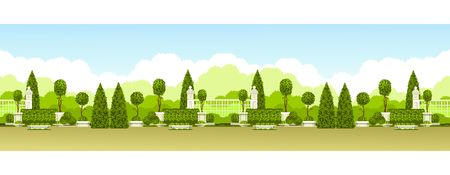 Vector illustration transparente motif panoramique de praka public avec une haie d'arbres topiaires et un lieu de détente Banque d'images - 82683375