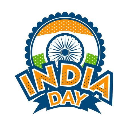 Vector illustration badge Independence day india symbols of the state on a white background
