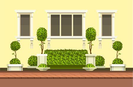 Vector clipart costruzione con hedge topiary alberi e un posto per riposo scena all'aperto