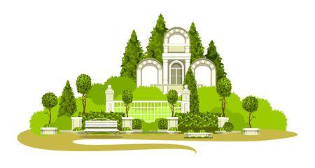 Vector illustratie van plaats van massa recreatie Park architectuur tuinplanten bank