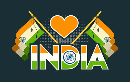 Vector illustration badge Independence day india symbols of the state on a black background Illustration