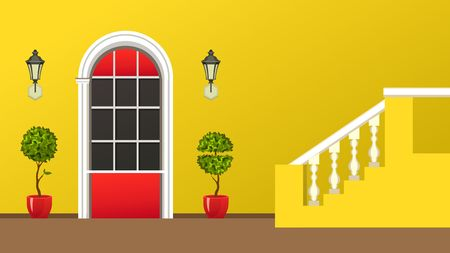 Vector illustration of the facade of the building front door of the gardening Illustration