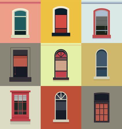 Vector illustratie van een set van plastic en houten ramen van verschillende vormen,