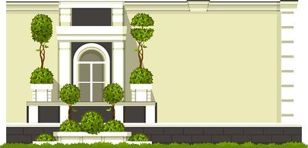 patio deck: Vector illustration of a building facade, balcony with a window gardening