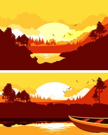 Vector illustration of a horizontal banner silhouette of a nature dawn in a mountainous area of a river landscape Illustration