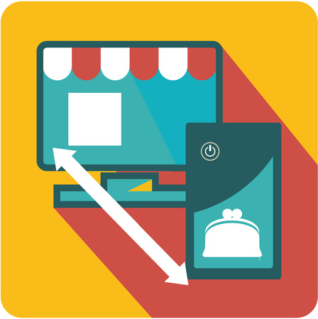 Vector business sign square shape icon internet shop, money transfers