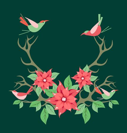 vector illustration of Christmas floral frame horns of an animal sitting birds on a black background