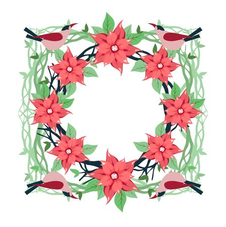 Vector image frame of Christmas flowers punch and birds on a white background with an empty space for posting Illustration