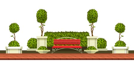 Park garden plants on a simple presentation. Illustration