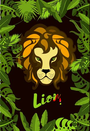 Vector illustration of a frame of exotic plants and tropical leaves of the jungle showing the face of a lion hunter