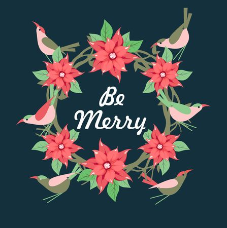 Vector image, frame of Christmas flowers punch and birds with space for posting Illustration