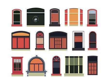 Vector illustratie van een set van plastic en houten ramen van verschillende vormen, Vector Illustratie