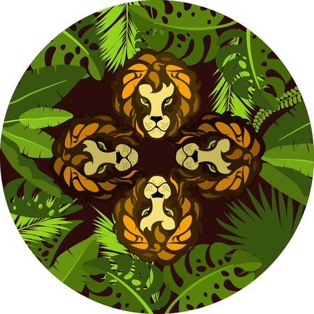 Vector illustration of round frame, exotic plants and tropical leaves of the jungle, showing four face Lion hunter emblem
