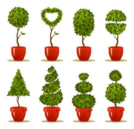 Vector illustratie van een tuin zaailingen, een boom in een doos en pot van retro briefkaart