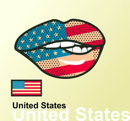 Vector Illustration Of Lip Painted United States Flag Isolated