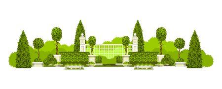 Illustration vectorielle d'une vue panoramique du praka public avec une haie d'arbres topiaires et un lieu de repos isolé sur fond blanc Banque d'images - 85721806