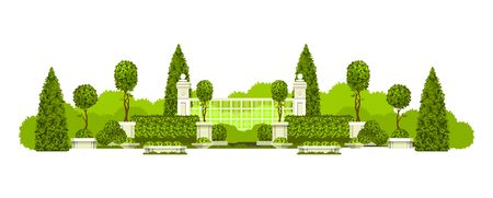 Vector illustration of a panoramic view of public praka with a hedge of topiary trees and a place to rest isolated on a white background Illustration