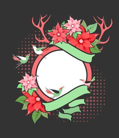 vintage postcard: vector illustration of Christmas floral frame horns of an animal sitting birds on a black background
