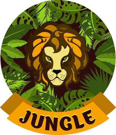 Vector illustration of round frame, exotic plants and tropical leaves of the jungle, showing the face of a Lion hunter emblem