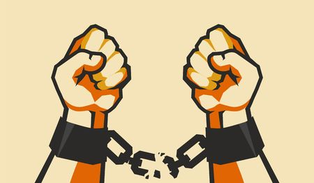 uprising: Vector illustration of two hands clenched into a fist tearing chains Illustration