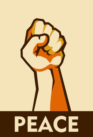 A vector vertical illustration retro poster raised up hand clenched into fist symbol of insurrection revolution