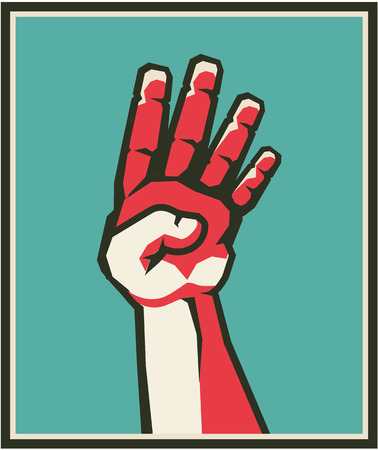 A Vector illustration of a human hand gesture four fingers counting Illustration