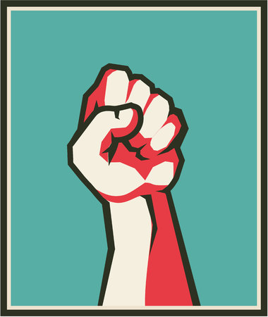 Vector illustration of retro poster raised up hand clenched into fist symbol of insurrection revolution. Illusztráció