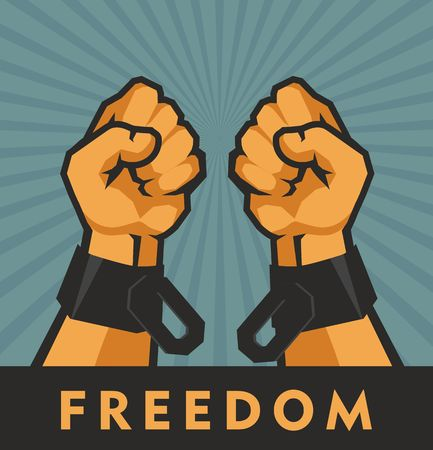 vector illustration retro poster two hands clenched into a fist tearing chains that they shackled the symbol of the revolution of freedom