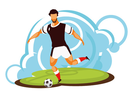 A Vector illustration of a sportive emblem isolated on a white background soccer football player running with a ball Illustration
