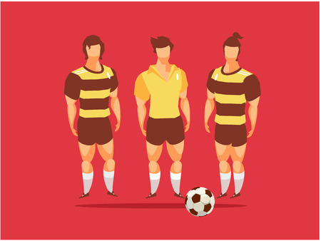 A vector illustration of team of athletes with soccer ball in red background. Illustration