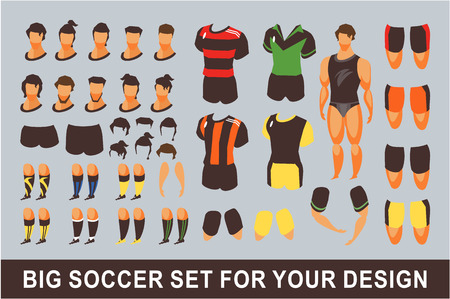 vector illustration set for the animation form clothing for the soccer player body parts gestures, hairstyle, for movement on a white background