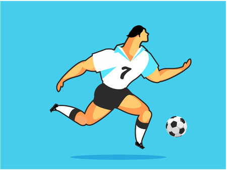 Vertical vector illustration athlete ball game soccer player football game Illustration