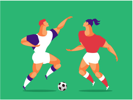 vertical vector illustration two athletes ball game soccer players football game
