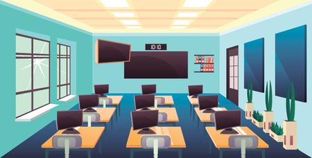 Modern flat education background empty school classroom interior meeting room