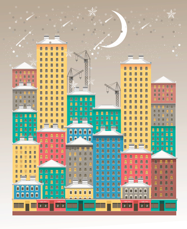 vector vertical illustration of a winter evening city high sky is snowing on multi-colored multi-storey buildings 版權商用圖片 - 91341063