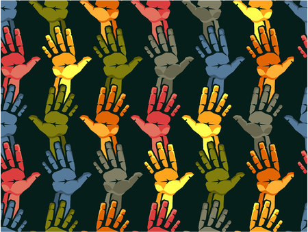 vector illustration human hands are stretched outward in the palm of the palm of different colors of different nationality concept
