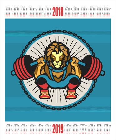 vector illustration 2018-2019 calendar emblem sport club mascot lion crouches with a barbell