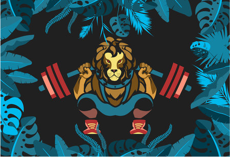 Illustration of a lion engaged in sports.