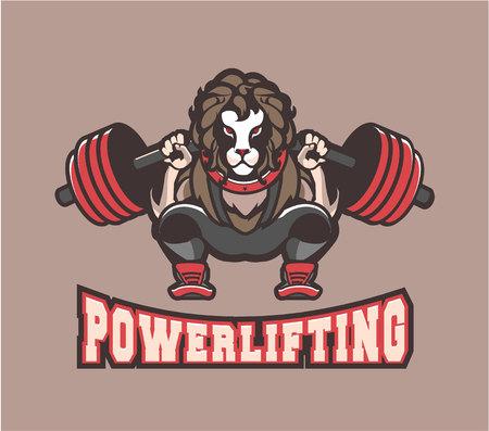 Illustration of sport symbol powerlifting gym. Illustration