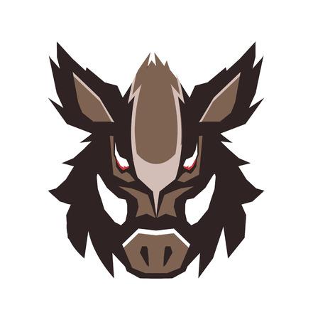 Illustration of wild boar emblem.