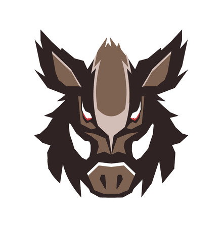 Illustration of wild boar emblem.