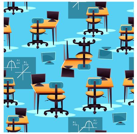 Illustration of school interior pattern. Illustration