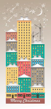 Vertical illustration of a winter evening city.
