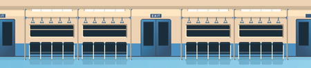 vector illustration interior of a subway car panoramic view in a flat style nobody Illustration