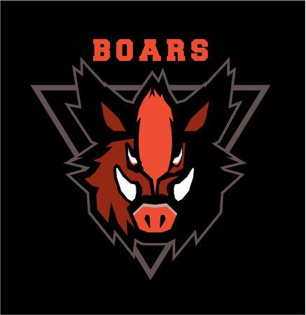 Vector illustration of the wild boar emblem of the emblem of the club mascot sports team Illustration